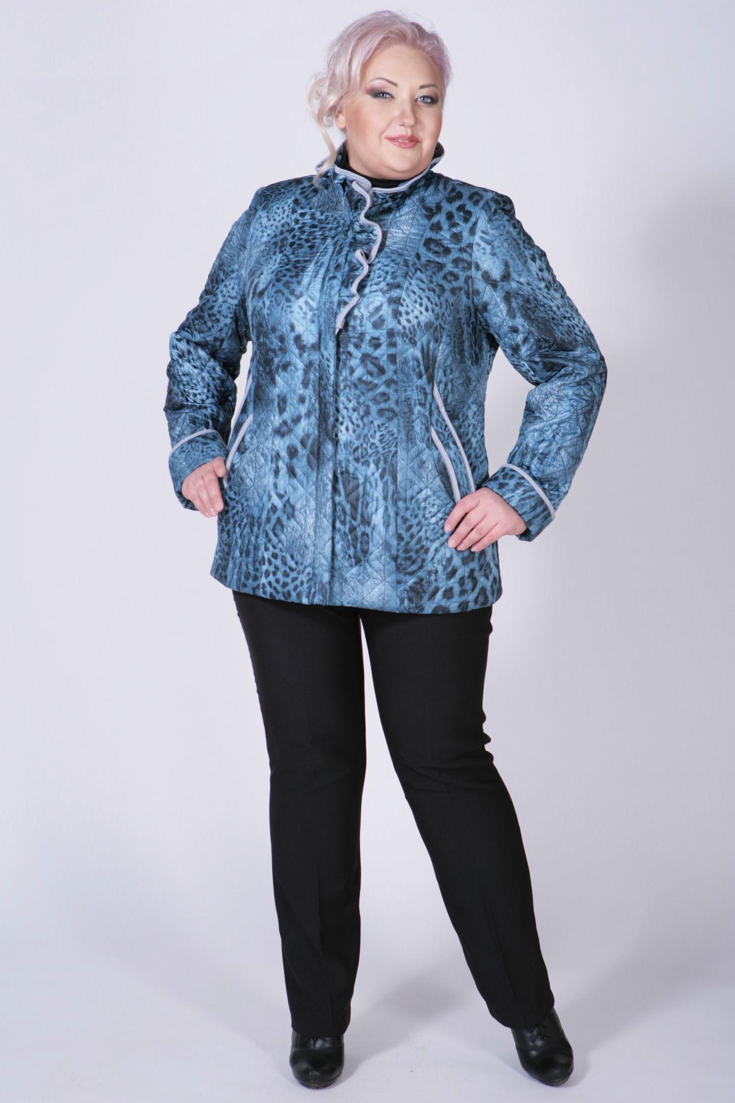 КурткаКуртки<br>Очаровательная куртка с интересным воротником и длинными рукавами. Модель выполнена из фактурной болоньи с леопардовым принтом. Отличный выбор для любого случая.  Цвет: голубой, синий  Рост девушки-фотомодели 172 см<br><br>По образу: Город<br>По стилю: Повседневный стиль<br>По материалу: Плащевая ткань<br>По рисунку: Леопард,Цветные<br>По сезону: Весна,Осень<br>По силуэту: Полуприталенные<br>По элементам: С воланами и рюшами,С карманами<br>По длине: Средней длины<br>Воротник: Стойка,Фантазийный<br>Рукав: Длинный рукав<br>Размер: 50,52,54,56,58,60,62,64,66<br>Материал: 100% полиэстер<br>Количество в наличии: 2