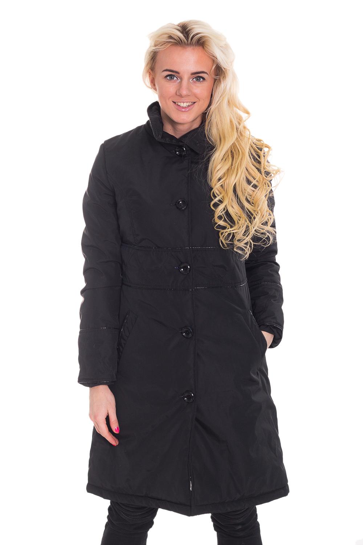 КурткаКуртки<br>Однотонная куртка с застежкой на пуговицы и стоячим воротником. Отличный выбор для повседневного и делового гардероба.  Цвет: черный  Рост девушки-фотомодели 170 см.<br><br>По образу: Город<br>По стилю: Классический стиль,Повседневный стиль<br>По материалу: Плащевая ткань<br>По рисунку: Однотонные<br>По сезону: Осень,Весна<br>По силуэту: Полуприталенные<br>По элементам: С карманами<br>По длине: Удлиненные<br>Воротник: Стойка<br>Рукав: Длинный рукав<br>Застежка: С пуговицами<br>Размер: 42,44,46,48<br>Материал: 100% полиэстер<br>Количество в наличии: 3