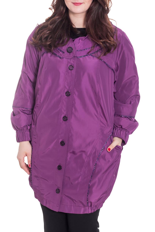 ВетровкаВерхняя одежда<br>Интересная ветровка длинными рукавами quot;фонарикquot;. Модель выполнена из плотной ткани с подкладом из полиэстера. Отличный выбор для повседневного гардероба. Ростовка 170 см.  Цвет: фиолетовый  Рост девушки-фотомодели 180 см<br><br>Воротник: Отложной<br>Застежка: С пуговицами<br>По длине: До колена<br>По рисунку: Однотонные<br>По силуэту: Свободные<br>По стилю: Повседневный стиль<br>По элементам: С карманами<br>Рукав: Длинный рукав<br>По сезону: Осень,Весна<br>Размер : 62,76<br>Материал: Полиэстер<br>Количество в наличии: 2
