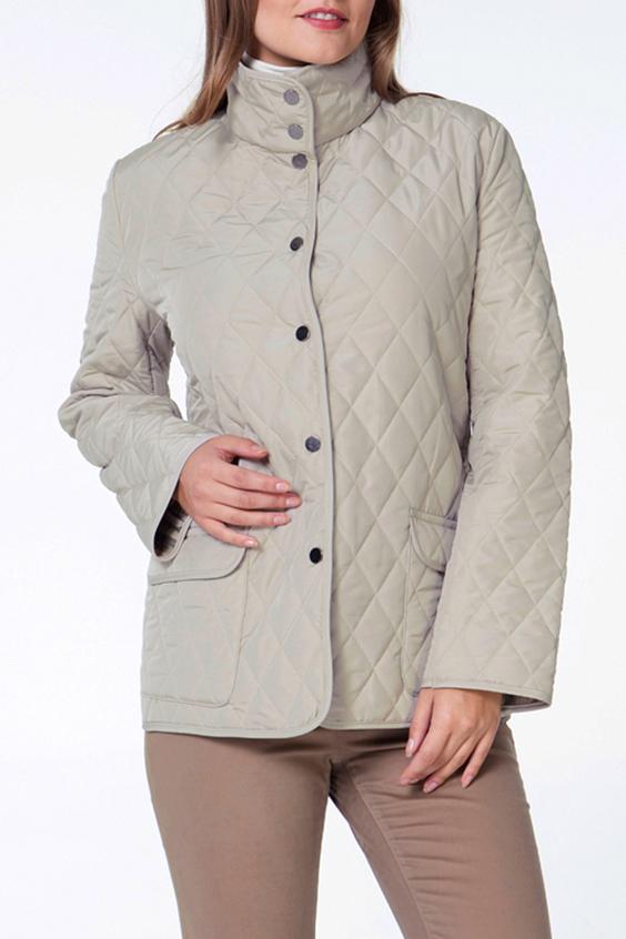 КурткаКуртки<br>Классическая женская куртка с застежкой на кнопки. Модель выполнена из стеганной болоньи. Отличный выбор для повседневного и делового гардероба.  Цвет: бежевый  Ростовка изделия 170 см.<br><br>Воротник: Стояче-отложной<br>Застежка: С кнопками<br>По длине: Короткие<br>По материалу: Плащевая ткань<br>По рисунку: Однотонные,Фактурный рисунок<br>По силуэту: Прямые<br>По стилю: Классический стиль,Повседневный стиль<br>По элементам: Отделка строчкой,С карманами<br>Рукав: Длинный рукав<br>По сезону: Осень,Весна<br>Размер : 44,46,48,50,52<br>Материал: Плащевая ткань<br>Количество в наличии: 5