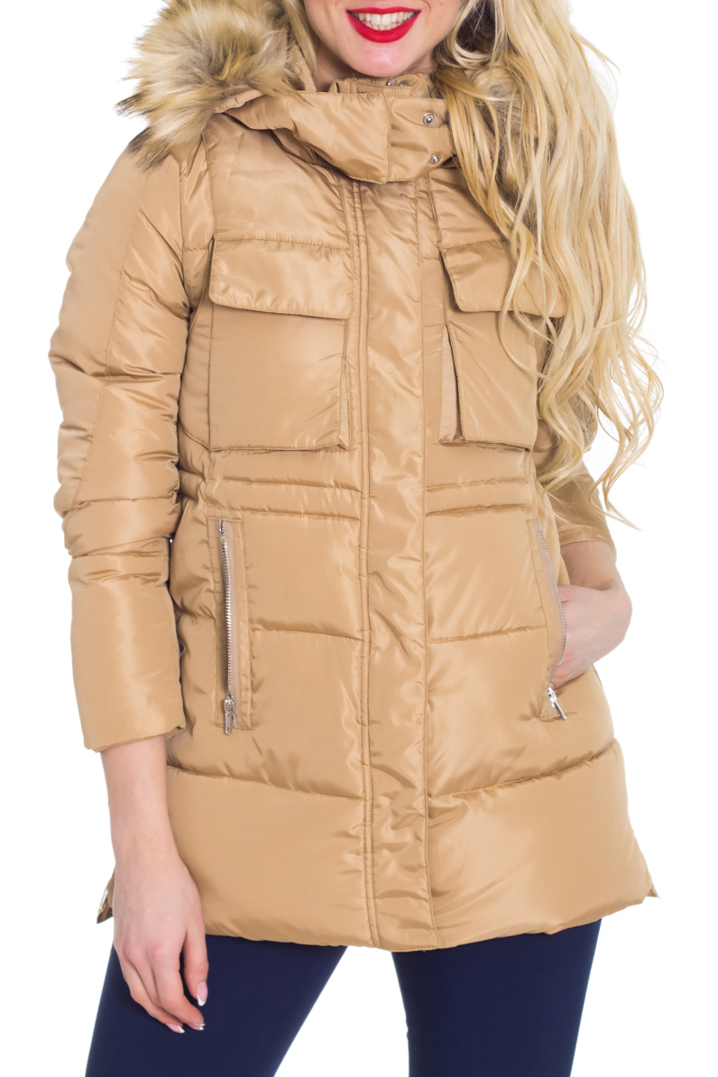 КурткаКуртки<br>Интересная куртка с укороченными рукавами и капюшоном с отделкой из искусственного меха. Отличный выбор для повседневного гардероба. Куртка отлично смотрится с удлиненными перчатками.  Цвет: бежевый  Рост девушки-фотомодели 170 см.<br><br>Воротник: Стойка<br>Застежка: С молнией<br>По длине: Удлиненные<br>По материалу: Мех,Плащевая ткань<br>По образу: Город<br>По рисунку: Однотонные<br>По сезону: Зима<br>По силуэту: Полуприталенные<br>По стилю: Молодежный стиль,Повседневный стиль<br>По форме: Пуховик<br>По элементам: С капюшоном,С карманами<br>Рукав: Рукав три четверти<br>Размер : 42-44<br>Материал: Болонья<br>Количество в наличии: 1