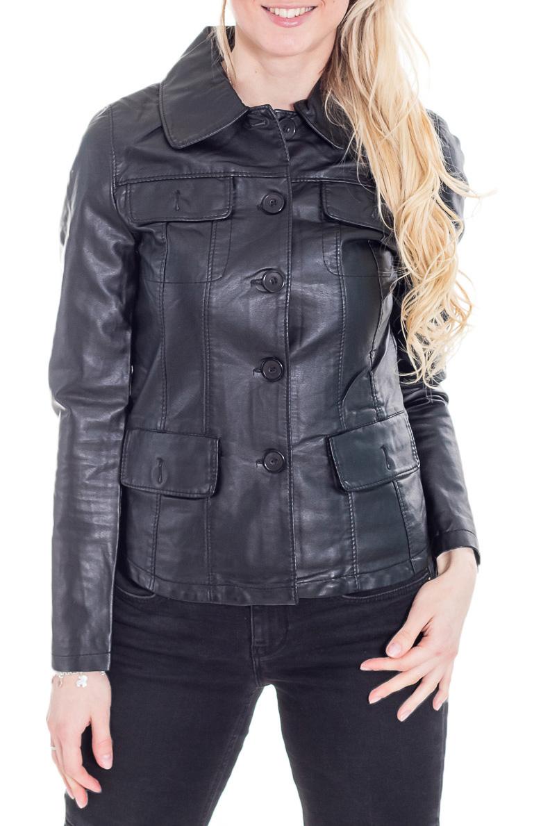 КурткаКуртки<br>Универсальная кожаная куртка с застежкой на крупные пуковицы. Отличный выбор для повседневного гардероба. Длинные рукава.  Цвет: черный  Ростовка изделия 170 см.<br><br>Воротник: Стояче-отложной<br>Застежка: С пуговицами<br>По длине: Короткие<br>По материалу: Кожа<br>По рисунку: Однотонные<br>По силуэту: Полуприталенные<br>По стилю: Кэжуал,Повседневный стиль<br>По форме: Кожаная куртка<br>По элементам: Отделка строчкой,С воротником,С декором,С карманами<br>Рукав: Длинный рукав<br>По сезону: Осень,Весна<br>Размер : 46,48,50,52<br>Материал: Искусственная кожа<br>Количество в наличии: 5
