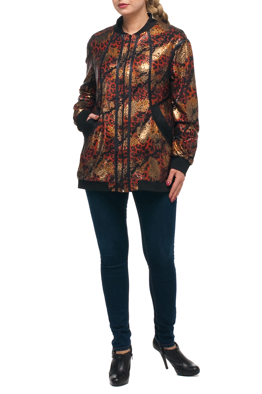КурткаКуртки<br>Эффектная женская куртка с длинными рукавами. Модель выполнена из блестящего материала. Отличный выбор для повседневного гардероба.  В изделии использованы цвета: бежевый, оранжевый, черный и др.  Рост девушки-фотомодели 173 см.<br><br>Застежка: С молнией<br>По длине: Средней длины<br>По рисунку: Рептилия,С принтом,Цветные<br>По силуэту: Полуприталенные<br>По стилю: Повседневный стиль<br>По элементам: С карманами,С манжетами<br>Рукав: Длинный рукав<br>По сезону: Осень,Весна<br>Размер : 48,50,52,54,56,58,60,62,64,66,68,70<br>Материал: Полиэстер<br>Количество в наличии: 12