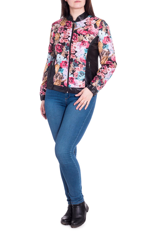 КурткаКуртки<br>Цветная куртка со стоячим воротником и застежкой на молнию. Модель выполнена из плотной болоньи. Отличный выбор для повседневного гардероба. Ростовка изделия 164-170 см.  В изделии использованы цвета: розовый, черный и др.  Рост девушки-фотомодели 180 см<br><br>Воротник: Стойка<br>Застежка: С молнией<br>По длине: Короткие<br>По материалу: Плащевая ткань<br>По рисунку: Растительные мотивы,С принтом,Цветные,Цветочные<br>По силуэту: Полуприталенные<br>По стилю: Повседневный стиль<br>По форме: Кожаная куртка<br>По элементам: С карманами,С манжетами<br>Рукав: Длинный рукав<br>По сезону: Осень,Весна<br>Размер : 46,48,50,52<br>Материал: Болонья<br>Количество в наличии: 4