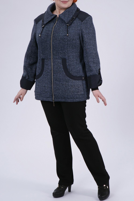 КурткаКуртки<br>Интересная куртка из плотного трикотажа. Отличный выбор для повседневного гардероба.  Цвет: синий  Рост девушки-фотомодели 172 см<br><br>Воротник: Отложной<br>Застежка: С молнией<br>По длине: Средней длины<br>По рисунку: Однотонные<br>По силуэту: Прямые<br>По стилю: Повседневный стиль<br>По элементам: С декором,С карманами,С патами<br>Рукав: Длинный рукав<br>По сезону: Осень,Весна<br>Размер : 54,58,60,62,66<br>Материал: Трикотаж<br>Количество в наличии: 5