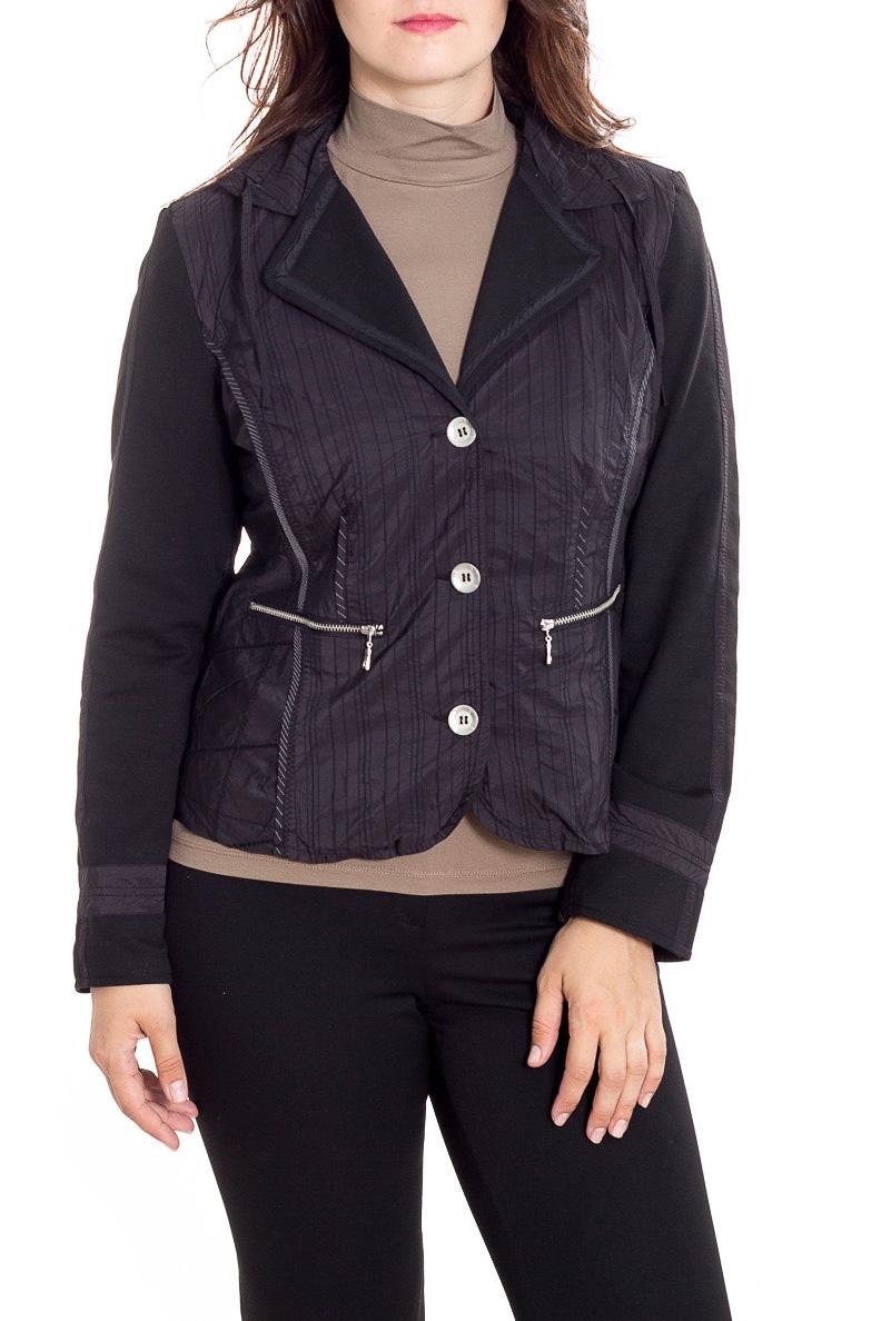 Куртка-пиджакЖакеты<br>Однотонный жакет с длинными рукавами. Модель выполнена из приятного материала. Отличный выбор для любого случая. Подклад 100% полиэстер.  Цвет: черный  Рост девушки-фотомодели 180 см<br><br>Воротник: Отложной<br>Горловина: V- горловина<br>Застежка: С пуговицами<br>По длине: Короткие<br>По материалу: Тканевые<br>По образу: Город<br>По рисунку: Однотонные<br>По силуэту: Полуприталенные<br>По стилю: Кэжуал,Повседневный стиль<br>По элементам: С карманами,С отделочной фурнитурой<br>Рукав: Длинный рукав<br>По сезону: Осень,Весна<br>Размер : 48,52,54<br>Материал: Костюмная ткань<br>Количество в наличии: 3