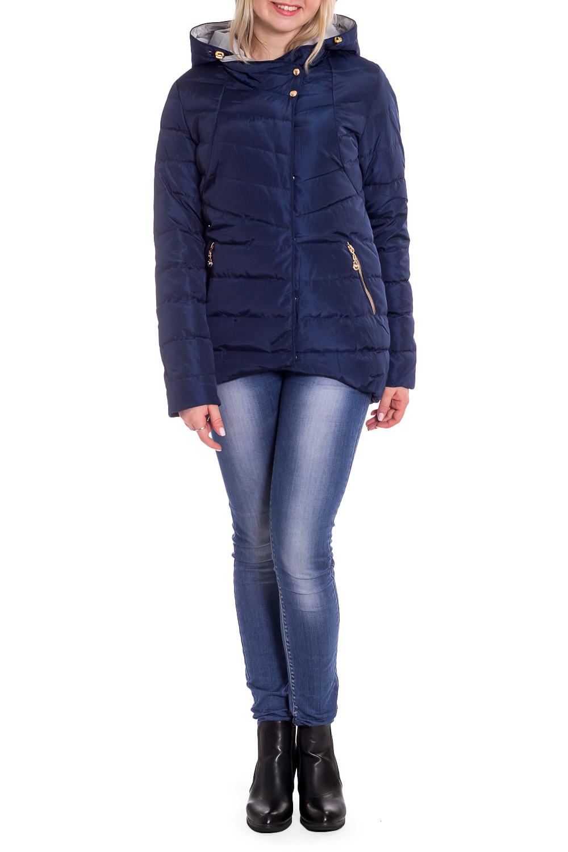 КурткаКуртки<br>Однотонная куртка с длинными рукавами, фигурным подолом и капюшоном. Модель выполнена из плотной болоньи. Отличный выбор для повседневного гардероба.  В изделии использованы цвета: синий  Рост девушки-фотомодели 170 см.<br><br>Застежка: С кнопками,С молнией<br>По длине: Короткие<br>По материалу: Плащевая ткань<br>По рисунку: Однотонные<br>По силуэту: Полуприталенные<br>По стилю: Кэжуал,Молодежный стиль,Повседневный стиль,Спортивный стиль<br>По элементам: С капюшоном,С карманами,С отделочной фурнитурой,С фигурным низом<br>Рукав: Длинный рукав<br>По сезону: Осень,Весна<br>Размер : 42,44,48<br>Материал: Болонья<br>Количество в наличии: 3