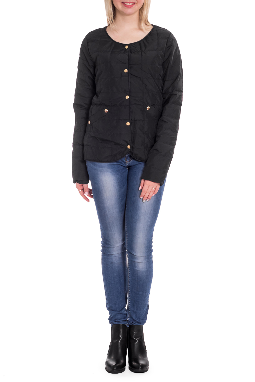 КурткаКуртки<br>Однотонная куртка с длинными рукавами и застежкой на кнопки. Модель выполнена из плотной болоньи. Отличный выбор для повседневного гардероба. Куртка хорошо смотрится с объемными шарфами и снудами.  В изделии использованы цвета: черный  Рост девушки-фотомодели 170 см.<br><br>Горловина: С- горловина<br>По длине: Короткие<br>По материалу: Плащевая ткань<br>По рисунку: Однотонные<br>По силуэту: Полуприталенные<br>По стилю: Кэжуал,Молодежный стиль,Повседневный стиль<br>По элементам: С карманами<br>Рукав: Длинный рукав<br>Застежка: С кнопками<br>По сезону: Осень,Весна<br>Размер : 42,44,46,48,50<br>Материал: Болонья<br>Количество в наличии: 5