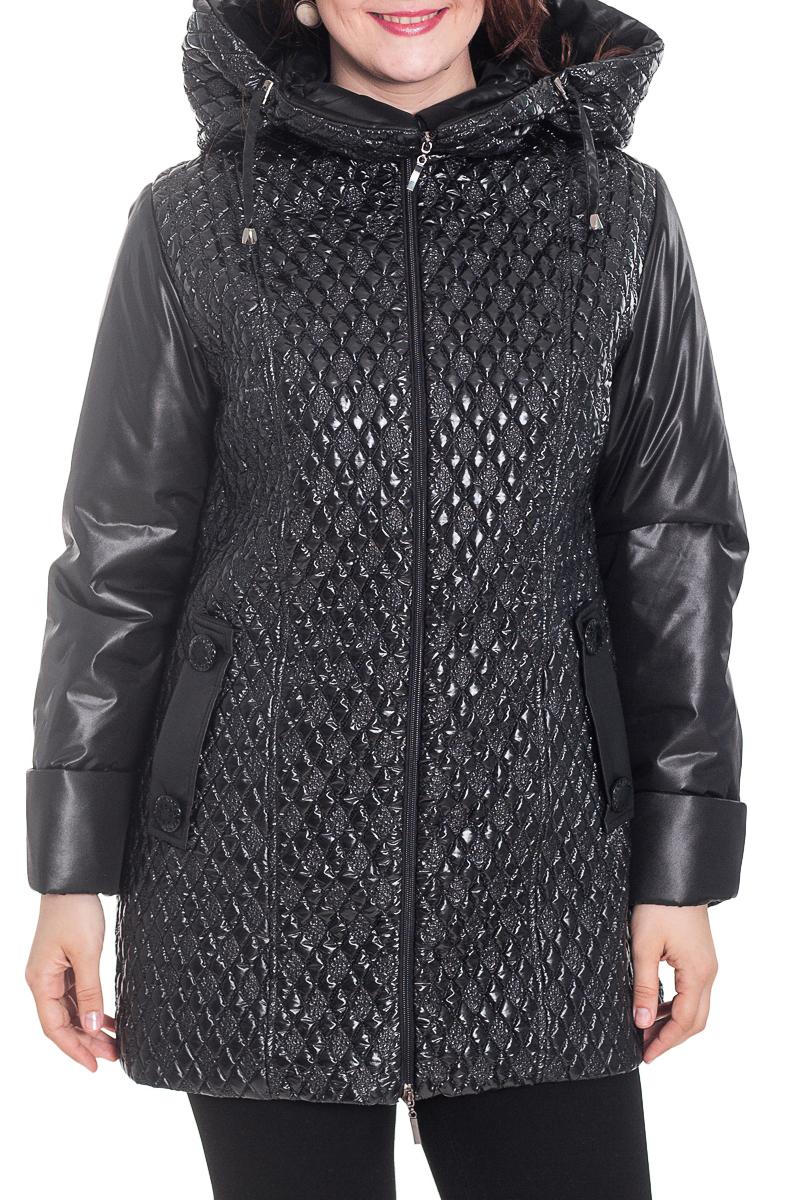 КурткаКуртки<br>Стильная женская куртка из фактурного материала. Капюшон, карманы, длинный рукав. Застежка - молния.  Цвет: черный.  Рост девушки-фотомодели 180 см<br><br>Воротник: Стойка<br>Застежка: С молнией<br>По длине: Средней длины<br>По материалу: Плащевая ткань<br>По рисунку: Однотонные,Фактурный рисунок<br>По силуэту: Полуприталенные<br>По стилю: Повседневный стиль<br>По элементам: С воротником,С декором,С капюшоном,С карманами,С подкладом<br>Рукав: Длинный рукав<br>По сезону: Осень,Весна<br>Размер : 52<br>Материал: Болонья<br>Количество в наличии: 1