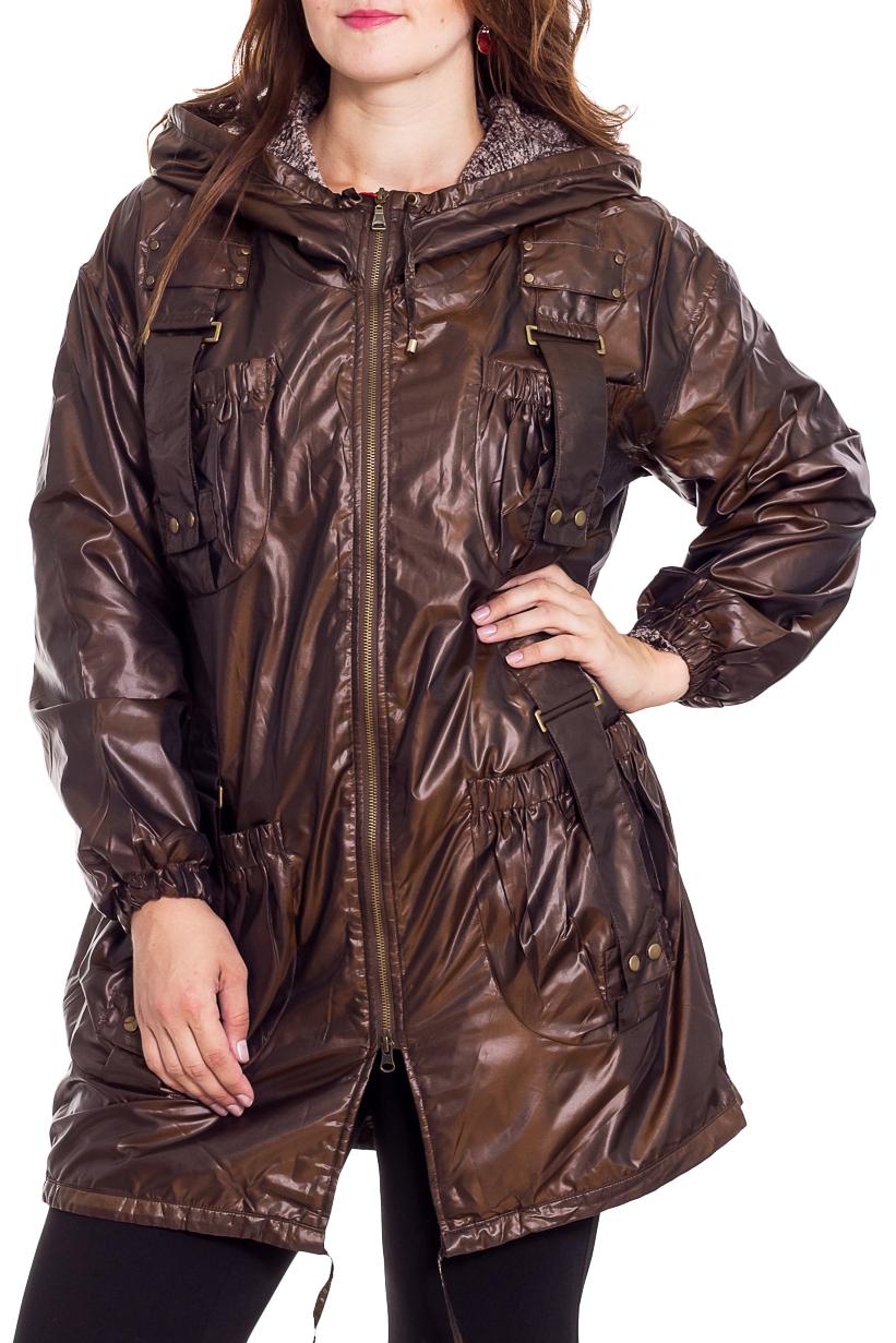КурткаКуртки<br>Интересная куртка с капюшоном. Отличный вариант для демисезонного гардероба.  Цвет: коричневый  Рост девушки-фотомодели 180 см<br><br>Воротник: Стойка<br>Застежка: С молнией<br>По длине: Средней длины<br>По материалу: Плащевая ткань<br>По образу: Город<br>По рисунку: Однотонные<br>По силуэту: Полуприталенные<br>По стилю: Повседневный стиль<br>По элементам: С декором,С капюшоном,С карманами,С отделочной фурнитурой,С патами<br>Рукав: Длинный рукав<br>По сезону: Осень,Весна<br>Размер : 48,50,52,54,56,58<br>Материал: Болонья<br>Количество в наличии: 6