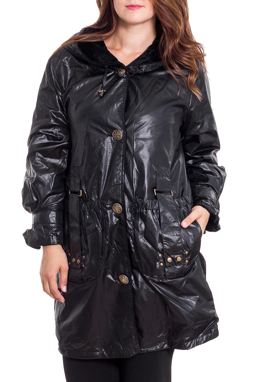 КурткаКуртки<br>Интересная куртка с капюшоном. Отличный вариант для демисезонного гардероба.  Цвет: черный  Рост девушки-фотомодели 180 см<br><br>Застежка: С пуговицами<br>По длине: Средней длины<br>По материалу: Плащевая ткань<br>По образу: Город<br>По рисунку: Однотонные<br>По силуэту: Полуприталенные<br>По стилю: Повседневный стиль<br>По элементам: С декором,С капюшоном,С карманами,С отделочной фурнитурой,С патами<br>Рукав: Длинный рукав<br>По сезону: Осень,Весна<br>Размер : 48,50,52,54,56<br>Материал: Болонья<br>Количество в наличии: 5