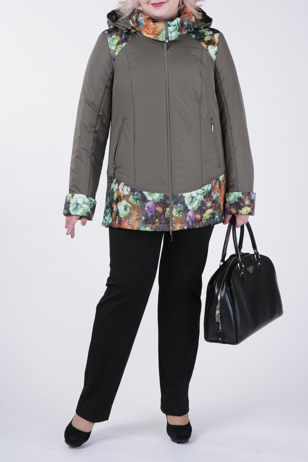 КурткаКуртки<br>Великолепная куртка с застежкой на молнию и длинными рукавами. Отличный выбор для демисезонного периода.  В изделии использованы цвета: серо-зеленый и др.  Рост девушки-фотомодели 172 см.<br><br>Застежка: С молнией<br>По длине: Средней длины<br>По материалу: Тканевые<br>По рисунку: Растительные мотивы,С принтом,Цветные,Цветочные<br>По силуэту: Прямые<br>По стилю: Повседневный стиль<br>По элементам: С капюшоном,С карманами<br>Рукав: Длинный рукав<br>По сезону: Осень,Весна<br>Размер : 56,58,62,66,74,76,78<br>Материал: Болонья<br>Количество в наличии: 7