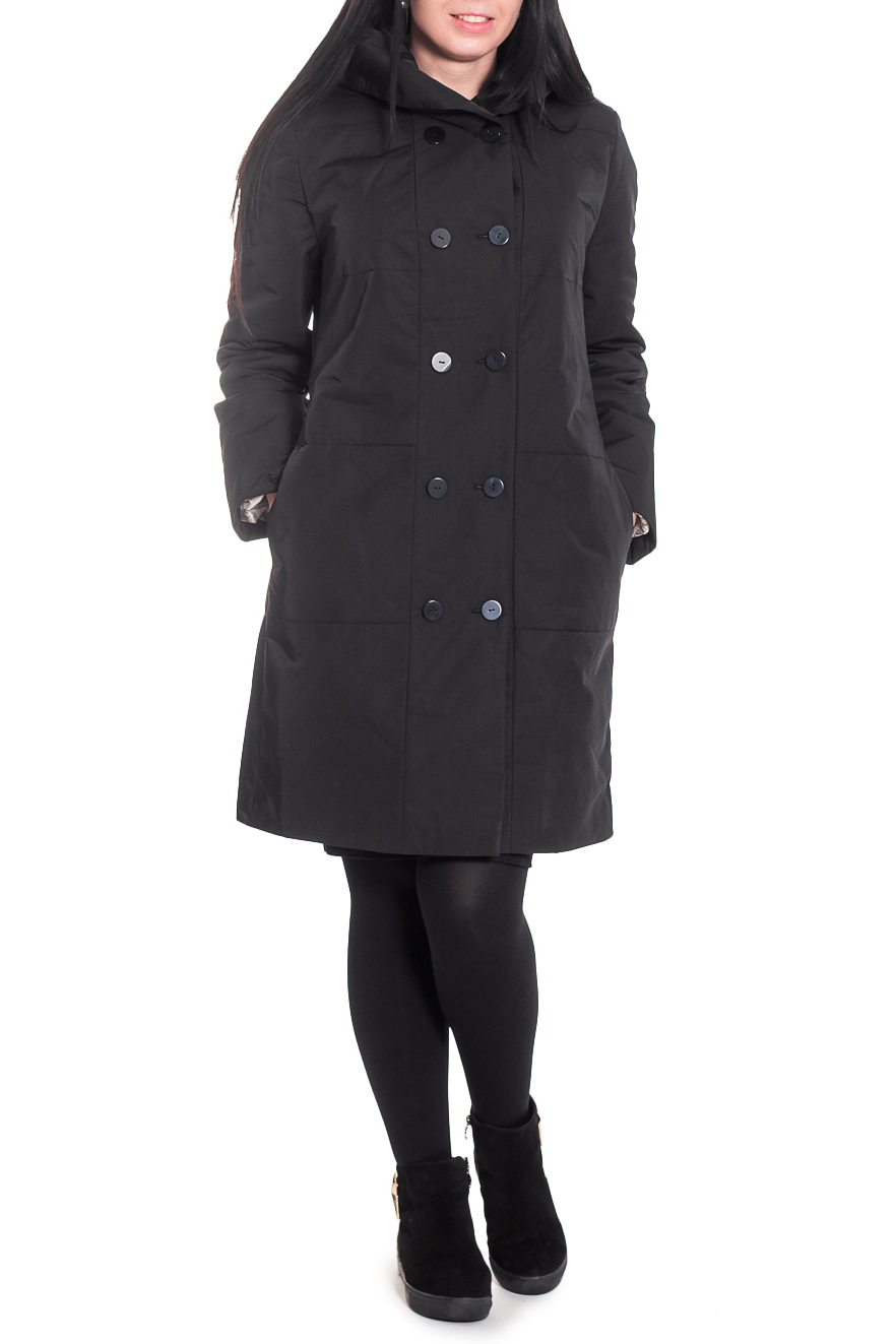 КурткаКуртки<br>Классическая куртка модели Танкер, прямого силуэта, двубортный, с застежкой на пуговицы. Карманы в боковых швах. На спинке средний шов. Капюшон. Рукав втачной, двушовный, длинный.  Цвет: черный.  Синтепон - лёгкий, объёмный, упругий нетканый материал, служащий утеплителем. Преимущества синтепона заключаются в лёгкости, хороших теплозащитных свойствах и малом весе, а также в безвредности для человека.  Плотность 150 г/кв.м - теплый синтепон в 1,5 см толщиной. Состав верхней ткани 100% полиэстер Состав подкладочной ткани 100% полиэстер Состав утеплителя 100% полиэфирное волокно.  Температурный режим до - 10°C  Длина рукава - 62 ± 1 см  Рост девушки-фотомодели 170 см  Длина изделия - 94 ± 2 см<br><br>Воротник: Стояче-отложной<br>Застежка: С пуговицами<br>По длине: Удлиненные<br>По материалу: Плащевая ткань,Синтепон<br>По рисунку: Однотонные<br>По силуэту: Прямые<br>По стилю: Классический стиль,Кэжуал,Повседневный стиль<br>По форме: Пуховик<br>По элементам: С воротником,С декором,С карманами,С подкладом<br>Рукав: Длинный рукав<br>По сезону: Осень,Весна<br>Размер : 46,48,52<br>Материал: Плащевая ткань<br>Количество в наличии: 7