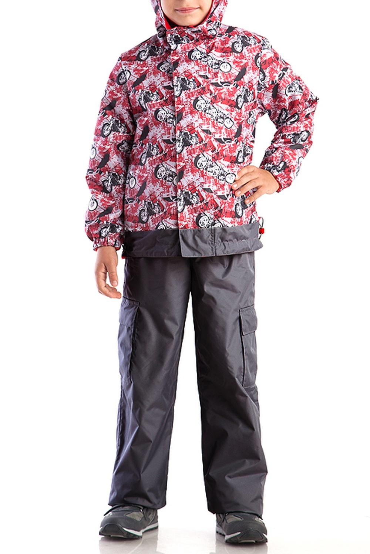 КостюмВерхняя одежда<br>Костюм из куртки с брюками. Куртка на флисе с капюшоном. Застёжка-молния скрыта ветрозащитной планкой.  Кулиса по низу изделия регулируется шнуром. Рукава фиксируются эластичными манжетами. Брюки на эластичной тесьме с регулировкой по талии, с накладными карманами.  Верхняя ткань - полиэстер 100%  Подкладка - флис  В изделии использованы цвета: серый, красный, черный и др.  Размер 74 соответствует росту 70-73 см Размер 80 соответствует росту 74-80 см Размер 86 соответствует росту 81-86 см Размер 92 соответствует росту 87-92 см Размер 98 соответствует росту 93-98 см Размер 104 соответствует росту 98-104 см Размер 110 соответствует росту 105-110 см Размер 116 соответствует росту 111-116 см Размер 122 соответствует росту 117-122 см Размер 128 соответствует росту 123-128 см Размер 134 соответствует росту 129-134 см Размер 140 соответствует росту 135-140 см<br><br>Воротник: Стойка<br>По возрасту: Ясельные ( от 1 до 3 лет),Дошкольные ( от 3 до 7 лет),Школьные ( от 7 до 13 лет)<br>По длине: Макси<br>По материалу: Плащевая ткань<br>По образу: Повседневные,Спорт<br>По рисунку: С принтом (печатью),Цветные<br>По силуэту: Полуприталенные<br>По элементам: С декором,С капюшоном,С карманами,С манжетами,С подкладом<br>Рукав: Длинный рукав<br>По сезону: Осень,Весна<br>Размер : 104,110,116,122,128<br>Материал: Болонья<br>Количество в наличии: 5