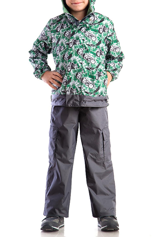 КостюмВерхняя одежда<br>Костюм из куртки с брюками. Куртка на флисе с капюшоном. Застёжка-молния скрыта ветрозащитной планкой.  Кулиса по низу изделия регулируется шнуром. Рукава фиксируются эластичными манжетами. Брюки на эластичной тесьме с регулировкой по талии, с накладными карманами.  Верхняя ткань - полиэстер 100%  Подкладка - флис  В изделии использованы цвета: серый, зеленый, черный и др.  Размер 74 соответствует росту 70-73 см Размер 80 соответствует росту 74-80 см Размер 86 соответствует росту 81-86 см Размер 92 соответствует росту 87-92 см Размер 98 соответствует росту 93-98 см Размер 104 соответствует росту 98-104 см Размер 110 соответствует росту 105-110 см Размер 116 соответствует росту 111-116 см Размер 122 соответствует росту 117-122 см Размер 128 соответствует росту 123-128 см Размер 134 соответствует росту 129-134 см Размер 140 соответствует росту 135-140 см<br><br>Воротник: Стойка<br>По возрасту: Ясельные ( от 1 до 3 лет),Дошкольные ( от 3 до 7 лет),Школьные ( от 7 до 13 лет)<br>По длине: Макси<br>По материалу: Плащевая ткань<br>По образу: Повседневные,Спорт<br>По рисунку: С принтом (печатью),Цветные<br>По силуэту: Полуприталенные<br>По элементам: С декором,С капюшоном,С карманами,С манжетами,С подкладом<br>Рукав: Длинный рукав<br>По сезону: Осень,Весна<br>Размер : 104,110,116,128<br>Материал: Болонья<br>Количество в наличии: 4