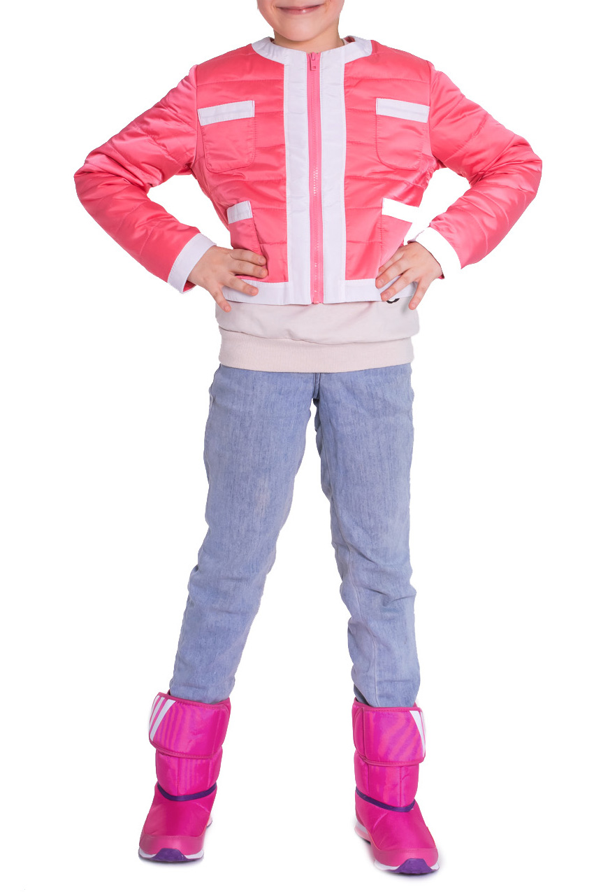 Куртка - ветровкаВерхняя одежда<br>Куртка детская прямого силуэта с контрастными обтачками по бортам, горловине, низу изделия и низу рукава. На передней части изделия накладные карманы и застежка молния. На спинке отрезные бочки. Рукав втачные, длинные. Состав верхней ткани - 100% полиэстер Подклад - 100% вискоза  Цвет: белый и коралловый.  Длина рукава: 134 размер - 49 ± 1 см 140 размер - 51 ± 1 см 146 размер - 53 ± 1 см 152 размер - 55 ± 1 см 158 размер - 57 ± 1 см 164 размер - 59 ± 1 см  Длина изделия: 134 размер - 42 ± 2 см 140 размер - 45 ± 2 см 146 размер - 48 ± 2 см 152 размер - 51 ± 2 см 158 размер - 54 ± 2 см 164 размер - 57 ± 2 см  Размер 134 соответствует росту 129-134 см Размер 140 соответствует росту 135-140 см Размер 146 соответствует росту 141-146 см Размер 152 соответствует росту 147-152 см Размер 158 соответствует росту 153-158 см Размер 164 соответствует росту 159-164 см<br><br>Горловина: С- горловина<br>По длине: Короткие,Мини<br>По материалу: Плащевая ткань<br>По образу: Повседневные,Спорт<br>По рисунку: Однотонные<br>По сезону: Весна,Осень<br>По силуэту: Полуприталенные<br>По форме: Ветровка<br>По элементам: Без воротника,С декором,С карманами,С молнией,С подкладом,С манжетами<br>Рукав: Длинный рукав<br>По возрасту: Школьные ( от 7 до 13 лет)<br>Размер : 134,140,146,152,158,164<br>Материал: Плащевая ткань<br>Количество в наличии: 29