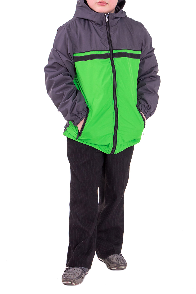 Куртка - ветровкаВерхняя одежда<br>Детская ветровка прямого силуэта. На передней части изделия кокетка с кантом и прорезные карманы с молнией. Застежка - молния с кантами. Капюшон регулируется кулиской. Рукав втачной с притачной манжетой на кулиске. Ветровка идеально подойдет для теплой весны и прохладного лета. Состав верхней ткани 100% полиэстер Состав подкладочной ткани 100% вискозы  Цвет: зеленый и серый.  Длина рукава - 51 ± 2 см  Длина изделия: 122 размер  - 49 ± 3 см 128 размер  - 52 ± 3 см 134 размер  - 52 ± 3 см  Размер 122 соответствует росту 117-122 см Размер 128 соответствует росту 123-128 см Размер 134 соответствует росту 129-134 см Размер 140 соответствует росту 135-140 см Размер 146 соответствует росту 141-146 см Размер 152 соответствует росту 147-152 см Размер 158 соответствует росту 153-158 см<br><br>По длине: Миди<br>По материалу: Вискоза,Плащевая ткань<br>По образу: Повседневные,Спорт<br>По рисунку: В полоску,Однотонные,Цветные<br>По сезону: Весна,Осень<br>По силуэту: Полуприталенные<br>По форме: Ветровка<br>По элементам: С декором,С карманами,С молнией,С подкладом,С манжетами<br>Рукав: Длинный рукав<br>По возрасту: Школьные ( от 7 до 13 лет),Дошкольные ( от 3 до 7 лет)<br>Размер : 122,128,134,140,146,152<br>Материал: Плащевая ткань<br>Количество в наличии: 14