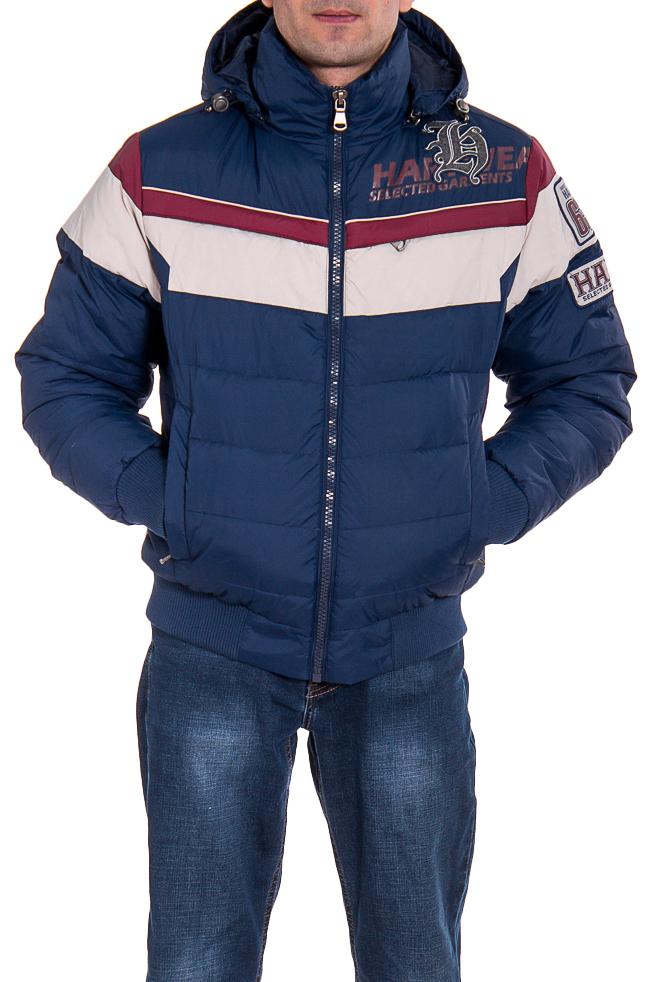 КурткаКуртки<br>Стильная куртка с капюшоном, утепленная утиным пухом. Куртка из матового нейлона выполнена в стиле, сочетающем элементы клубной и мотоциклетной курток. Плотная трикотажная резинка на воротнике, по низу рукавов, а также по поясу помогает сберечь тепло холодным зимним днем. Несмотря на утепление пухом куртка сохраняет стройный силуэт.  Ростовка изделия 176 см.  В изделии использованы цвета: синий, красный, белый  Наполнитель: 70% пух 30% перо  Рост мужчины-фотомодели 177 см<br><br>По сезону: Зима<br>Размер : 52,54<br>Материал: Болонья<br>Количество в наличии: 2