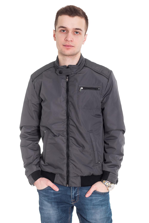 КурткаКуртки<br>Мужская укороченная куртка, воротник стойка на кнопке, центральная молния, на полочках карманыи на молниях. Утеплитель синтепон.   Цвет: серый  Рост мужчины-фотомодели 182 см<br><br>По сезону: Осень,Весна<br>Размер: 48,50,52,54,56,58<br>Материал: 100% полиэстер<br>Количество в наличии: 6