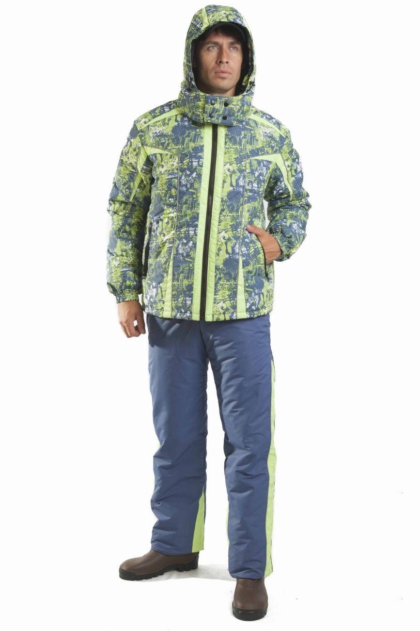КостюмКуртки<br>Универсальный костюм, который подойдёт как для активного отдыха на природе, так и для городских условий. Верх костюма изготовлен из современной мембранной ткани, прекрасно противостоящей дождю и ветру. Брюки с расширенным поясом на спинке, трансформируются в полукомбинезон с эластичными бретелями.  Куртка свободный крой центральная застежка молния с ветрозащитным клапаном внутренняя круговая ветрозащитная деталь на эластичной ленте с застежкой кнопки воротник стойка отстегивающийся капюшон с регулировкой объема рукава на манжете с эластичной лентой два прорезных боковых кармана на застежке молния два внутренних кармана  Брюки прямые застежка гульфик на молнии пояс притачной расширенный на спинке шлевки два боковых кармана пристегивающиеся эластичные бретели для надежной фиксации на уровне линии талии  В изделии использованы цвета: голубой, салатовый и др.  Ростовка изделия до размеров 44-46 176 см. Ростовка изделия с размеров 48-50 182 см.<br><br>По сезону: Осень,Весна<br>Размер : 52-54<br>Материал: Плащевая ткань<br>Количество в наличии: 1