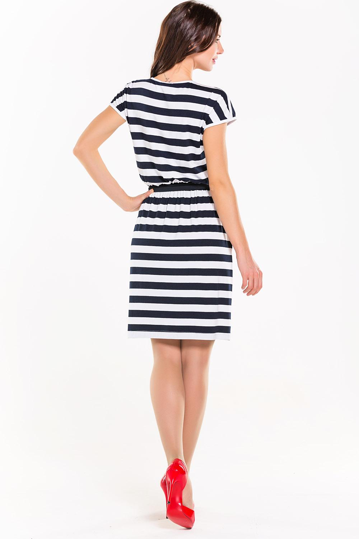 Платье сине белые полоски
