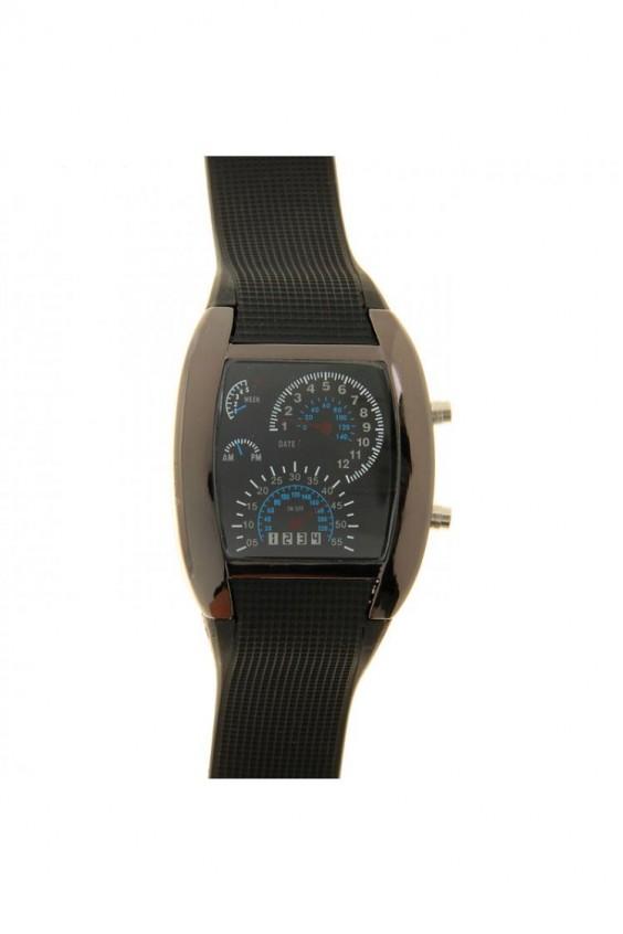 Часы наручные мужские, электронные, LED подсветка, силиконовый черный ремешок Часы наручные мужские, электронные, LED